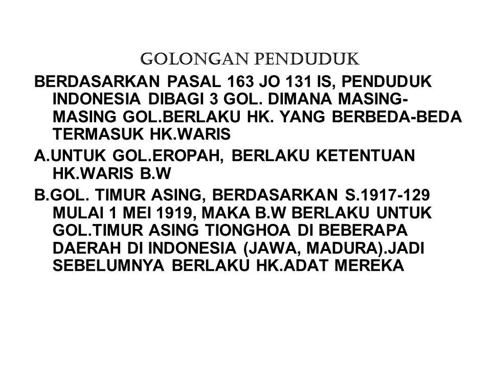 GOLONGAN PENDUDUK BERDASARKAN PASAL 163 JO 131 IS, PENDUDUK INDONESIA DIBAGI 3 GOL. DIMANA MASING- MASING GOL.BERLAKU HK. YANG BERBEDA-BEDA TERMASUK H