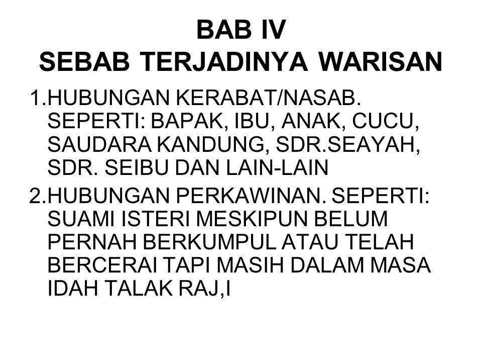 BAB IV SEBAB TERJADINYA WARISAN 1.HUBUNGAN KERABAT/NASAB. SEPERTI: BAPAK, IBU, ANAK, CUCU, SAUDARA KANDUNG, SDR.SEAYAH, SDR. SEIBU DAN LAIN-LAIN 2.HUB