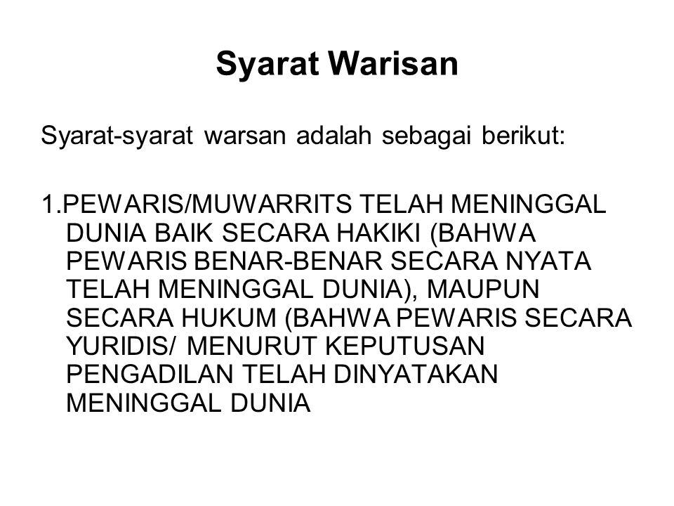 Syarat Warisan Syarat-syarat warsan adalah sebagai berikut: 1.PEWARIS/MUWARRITS TELAH MENINGGAL DUNIA BAIK SECARA HAKIKI (BAHWA PEWARIS BENAR-BENAR SE