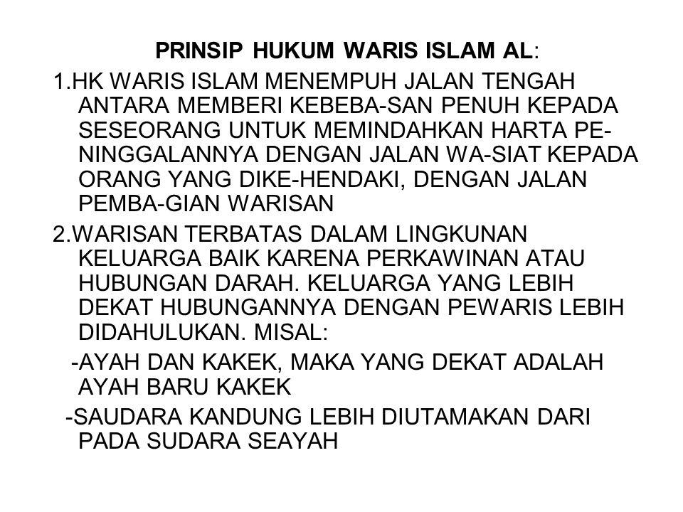 PRINSIP HUKUM WARIS ISLAM AL: 1.HK WARIS ISLAM MENEMPUH JALAN TENGAH ANTARA MEMBERI KEBEBA-SAN PENUH KEPADA SESEORANG UNTUK MEMINDAHKAN HARTA PE- NING