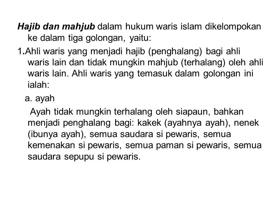 Hajib dan mahjub dalam hukum waris islam dikelompokan ke dalam tiga golongan, yaitu: 1.Ahli waris yang menjadi hajib (penghalang) bagi ahli waris lain
