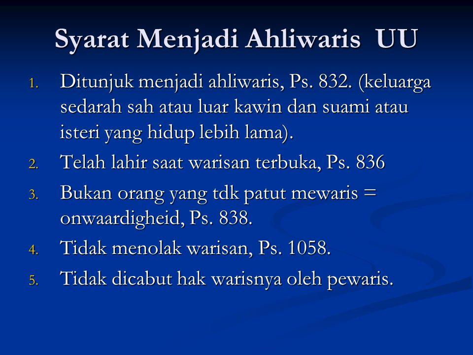 Syarat Menjadi Ahliwaris UU 1. Ditunjuk menjadi ahliwaris, Ps. 832. (keluarga sedarah sah atau luar kawin dan suami atau isteri yang hidup lebih lama)