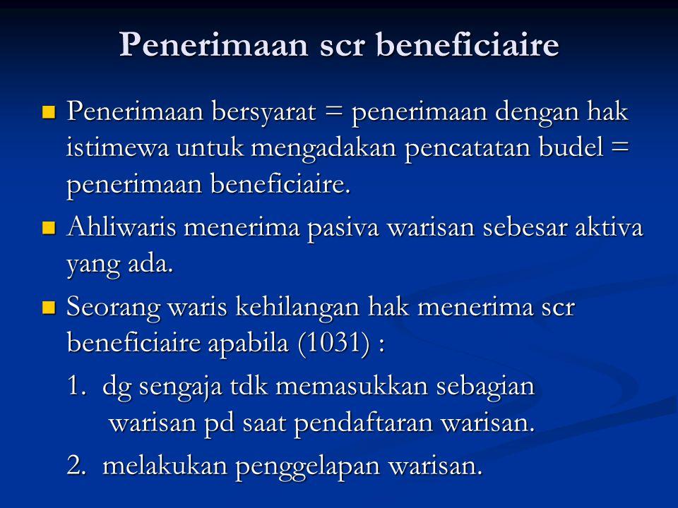Penerimaan scr beneficiaire Penerimaan bersyarat = penerimaan dengan hak istimewa untuk mengadakan pencatatan budel = penerimaan beneficiaire. Penerim