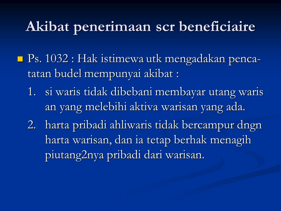 Akibat penerimaan scr beneficiaire Ps.