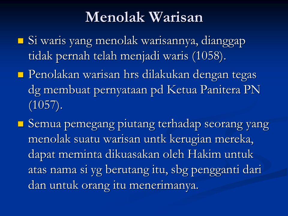 Menolak Warisan Si waris yang menolak warisannya, dianggap tidak pernah telah menjadi waris (1058). Si waris yang menolak warisannya, dianggap tidak p