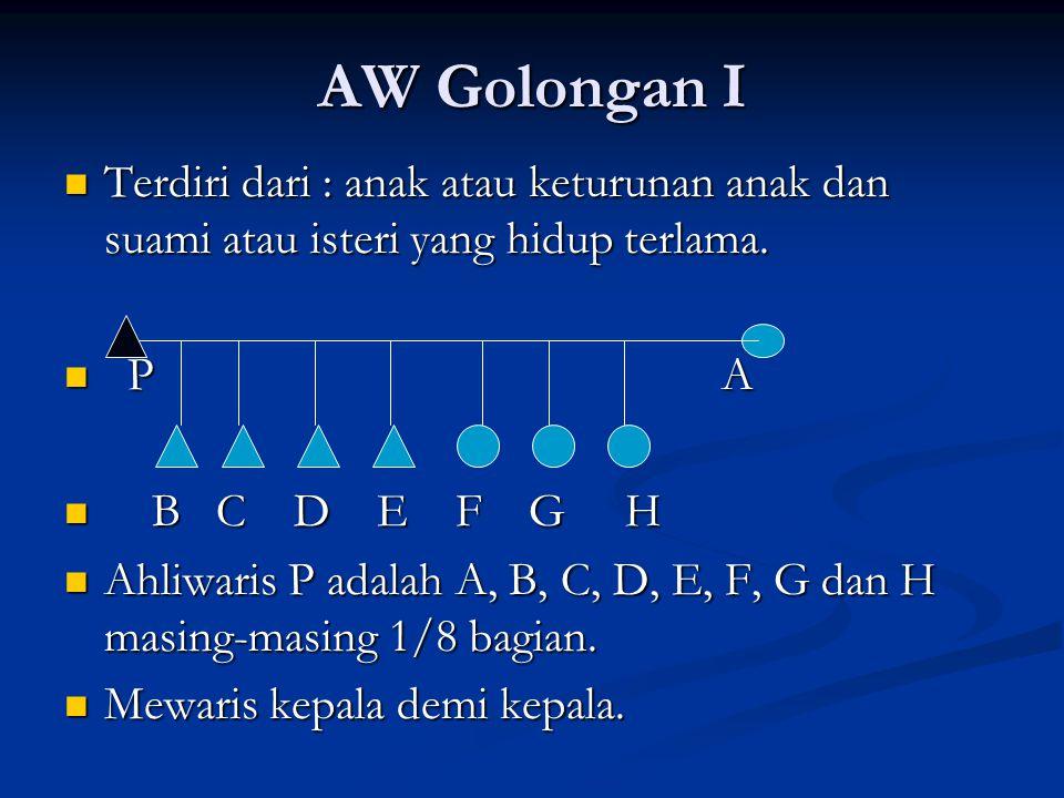AW Golongan I Terdiri dari : anak atau keturunan anak dan suami atau isteri yang hidup terlama. Terdiri dari : anak atau keturunan anak dan suami atau
