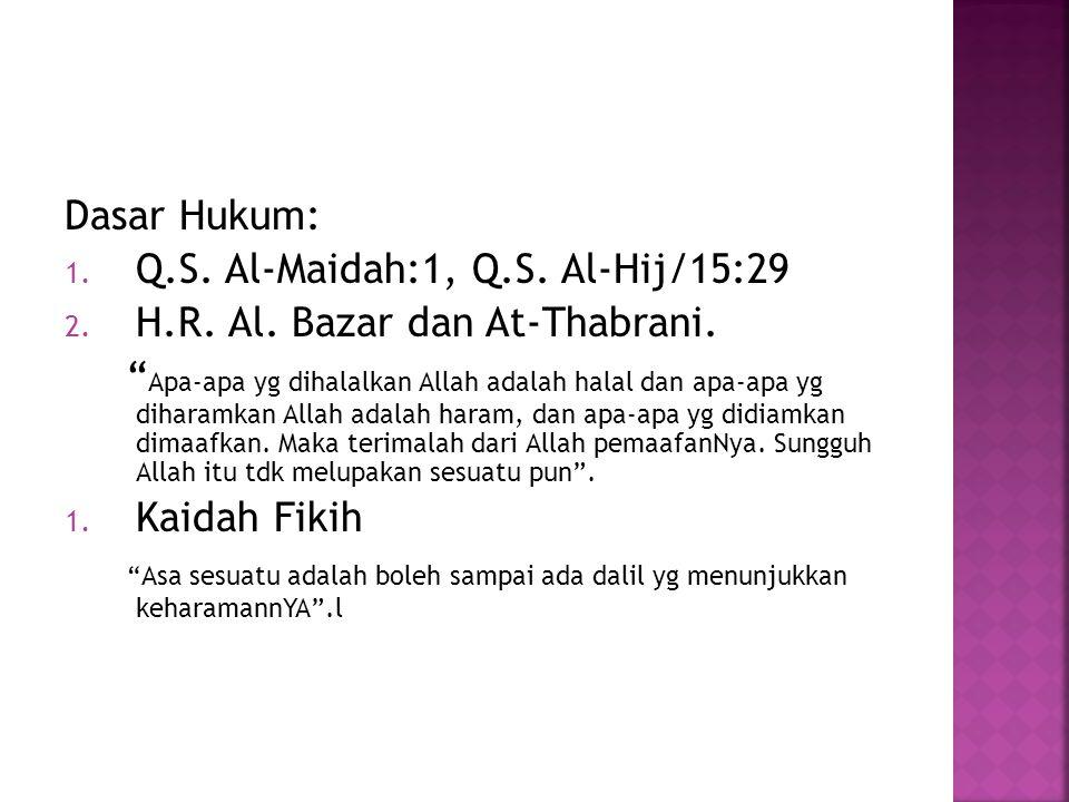 Dasar Hukum: 1. Q.S. Al-Maidah:1, Q.S. Al-Hij/15:29 2.