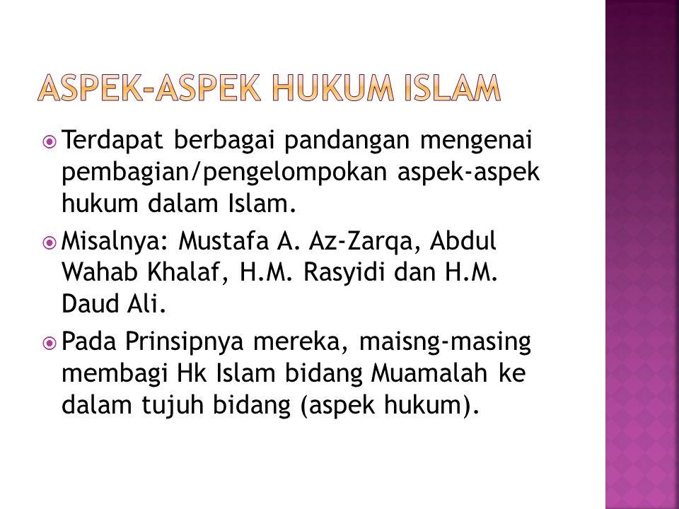  Terdapat berbagai pandangan mengenai pembagian/pengelompokan aspek-aspek hukum dalam Islam.