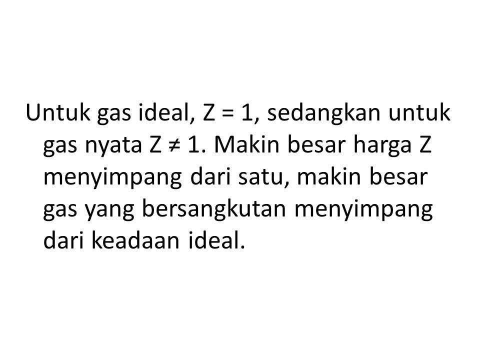 Untuk gas ideal, Z = 1, sedangkan untuk gas nyata Z ≠ 1. Makin besar harga Z menyimpang dari satu, makin besar gas yang bersangkutan menyimpang dari k