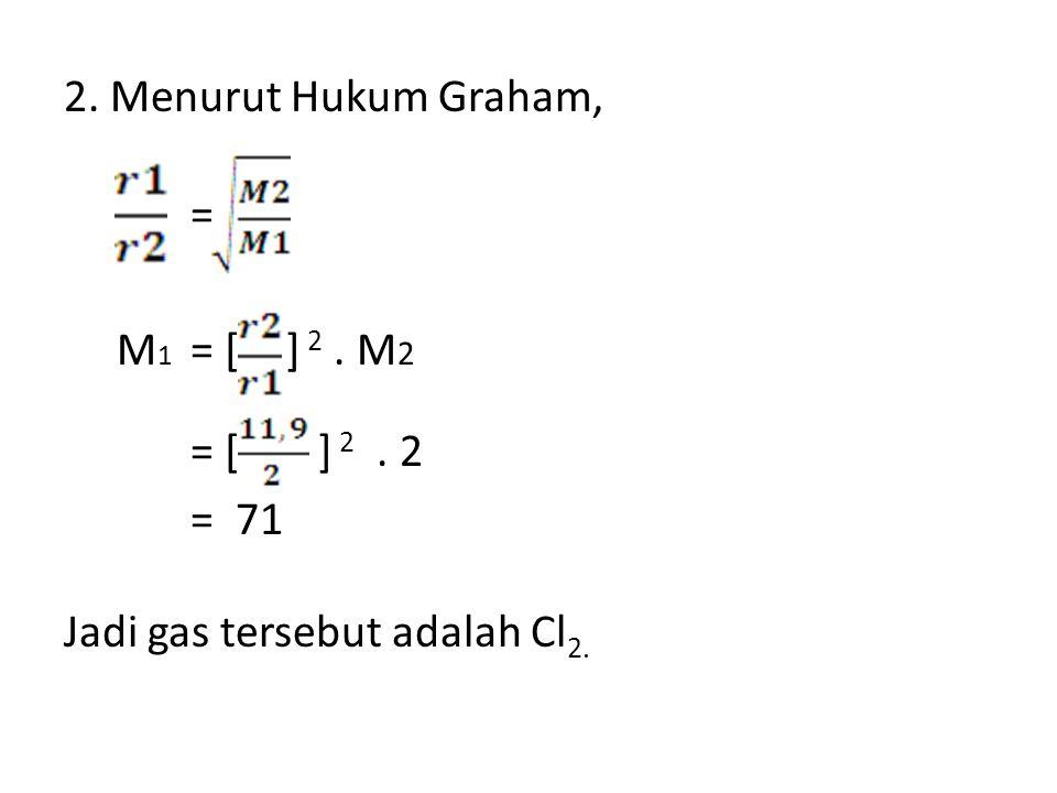 2. Menurut Hukum Graham, = M 1 = [ ] 2. M 2 = [ ] 2. 2 = 71 Jadi gas tersebut adalah Cl 2.