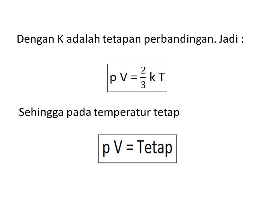 Sehingga pada temperatur tetap Dengan K adalah tetapan perbandingan. Jadi :