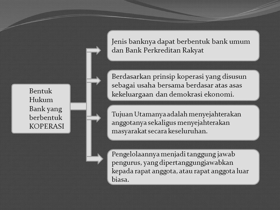 Tujuan Utamanya adalah menyejahterakan anggotanya sekaligus menyejahterakan masyarakat secara keseluruhan. Bentuk Hukum Bank yang berbentuk KOPERASI J