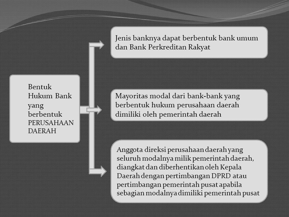 Bentuk Hukum Bank yang berbentuk PERUSAHAAN DAERAH Jenis banknya dapat berbentuk bank umum dan Bank Perkreditan Rakyat Mayoritas modal dari bank-bank