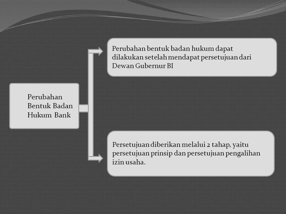 Perubahan Bentuk Badan Hukum Bank Perubahan bentuk badan hukum dapat dilakukan setelah mendapat persetujuan dari Dewan Gubernur BI Persetujuan diberik