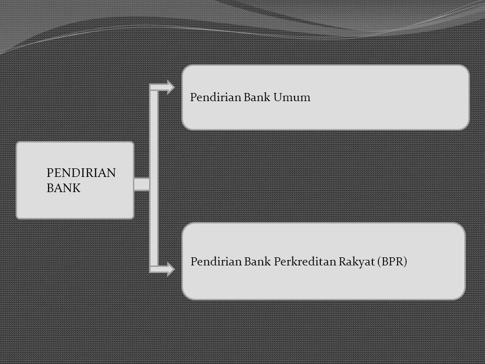 PENDIRIAN BANK Pendirian Bank Umum Pendirian Bank Perkreditan Rakyat (BPR)
