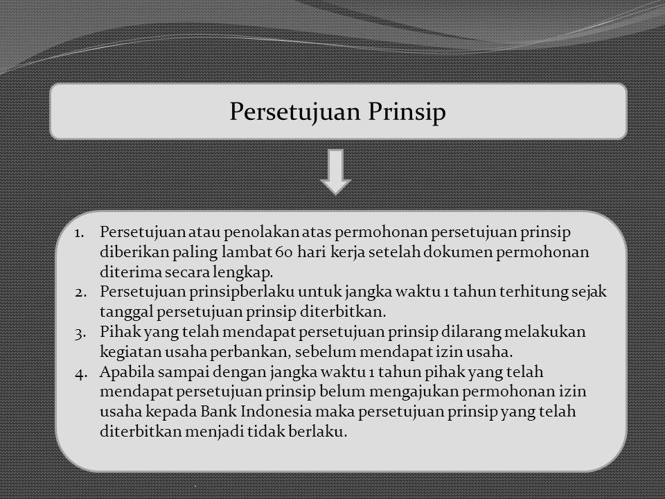 . Persetujuan Prinsip 1.Persetujuan atau penolakan atas permohonan persetujuan prinsip diberikan paling lambat 60 hari kerja setelah dokumen permohona