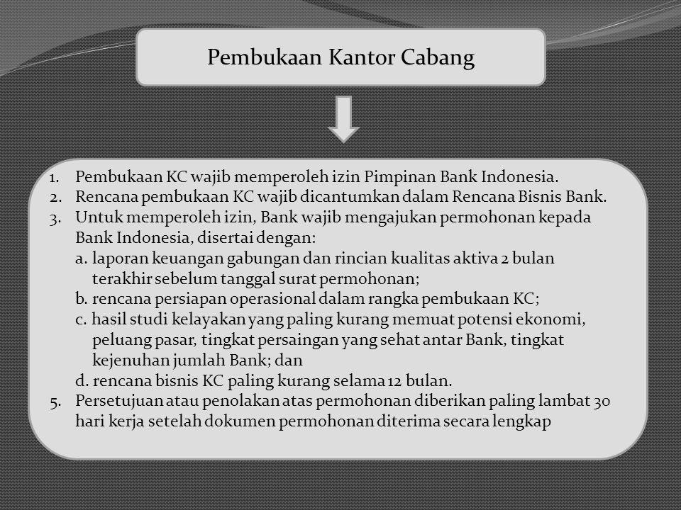 Pembukaan Kantor Cabang 1.Pembukaan KC wajib memperoleh izin Pimpinan Bank Indonesia. 2.Rencana pembukaan KC wajib dicantumkan dalam Rencana Bisnis Ba