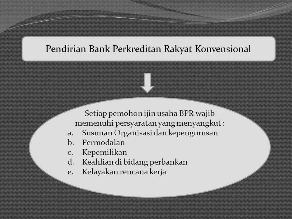 . Setiap pemohon ijin usaha BPR wajib memenuhi persyaratan yang menyangkut : a.Susunan Organisasi dan kepengurusan b.Permodalan c.Kepemilikan d.Keahli