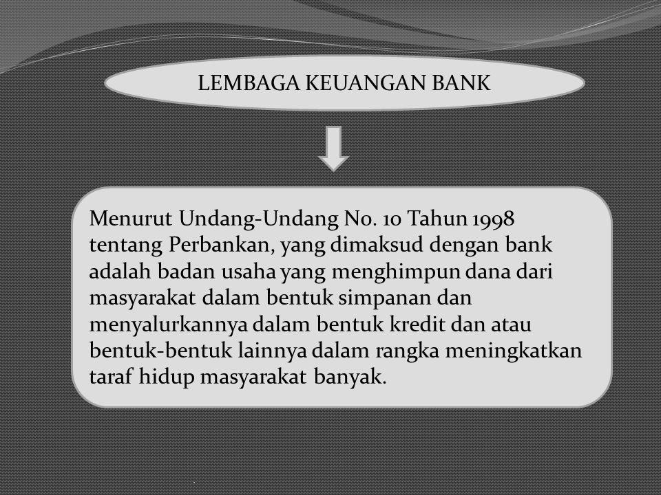 . LEMBAGA KEUANGAN BANK Menurut Undang-Undang N0. 10 Tahun 1998 tentang Perbankan, yang dimaksud dengan bank adalah badan usaha yang menghimpun dana d