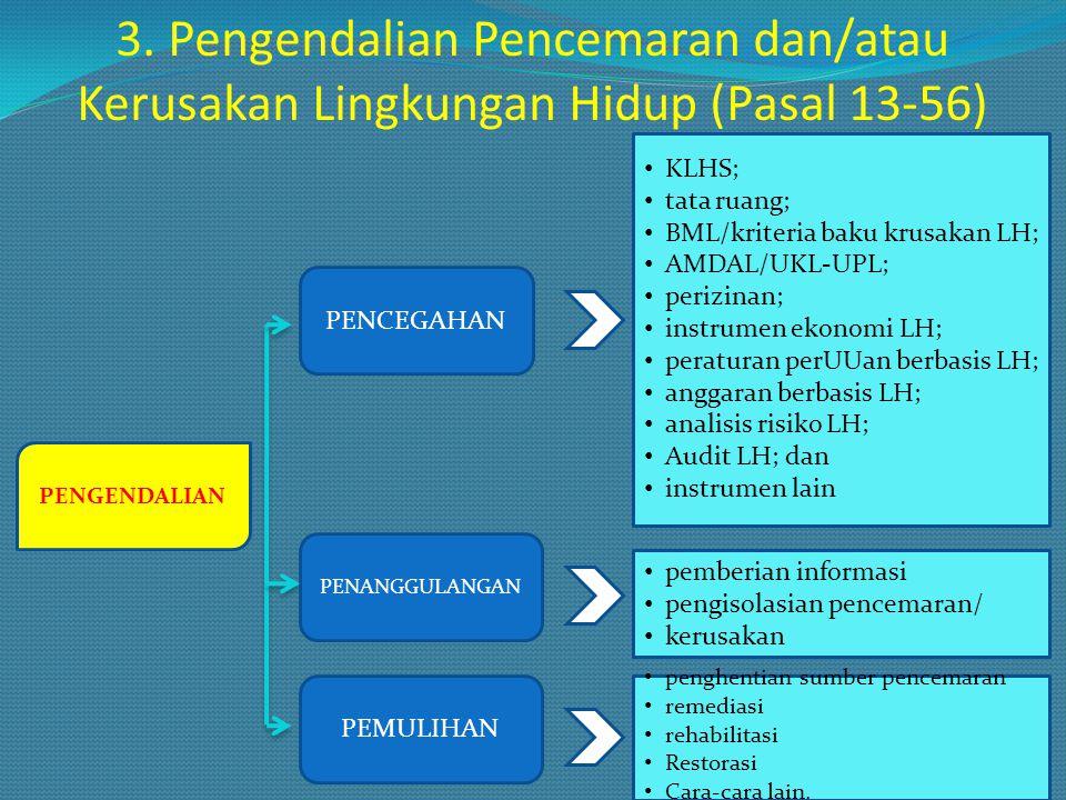 3. Pengendalian Pencemaran dan/atau Kerusakan Lingkungan Hidup (Pasal 13-56) PENGENDALIAN PENCEGAHAN PENANGGULANGAN PEMULIHAN KLHS; tata ruang; BML/kr
