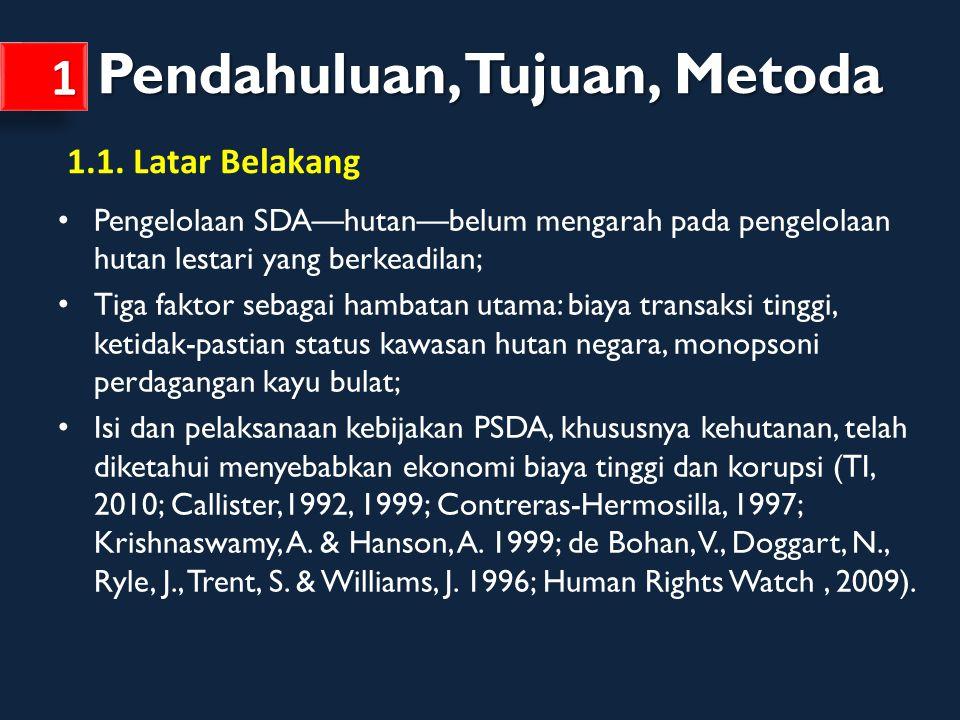 Memetakan permasalahan regulasi dan kebijakan pengelolaan sumberdaya alam di Indonesia khususnya terkait sistem perizinan di sektor kehutanan, kawasan hutan dan perdagangan kayu bulat; Memetakan titik-titik rentan korupsi dalam proses pemberian izin kehutanan dan mengidentifikasi akar masalahnya; Membangun agenda perbaikan kebijakan dalam koordinasi pelaksanaan NKB-KPK-UKP4.