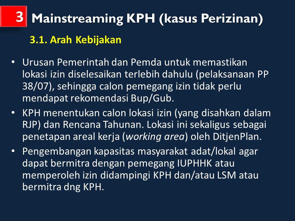 Mainstreaming KPH (kasus Perizinan) 33 Urusan Pemerintah dan Pemda untuk memastikan lokasi izin diselesaikan terlebih dahulu (pelaksanaan PP 38/07), s