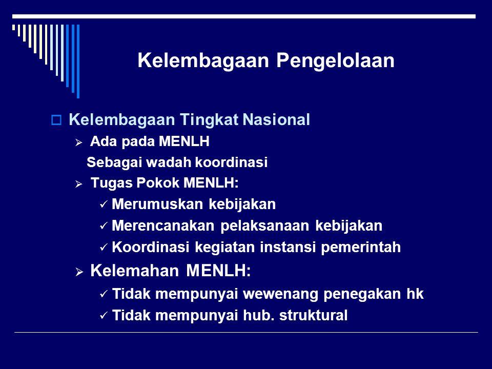 Kelembagaan Pengelolaan  Kelembagaan Tingkat Nasional  Ada pada MENLH Sebagai wadah koordinasi  Tugas Pokok MENLH: Merumuskan kebijakan Merencanaka