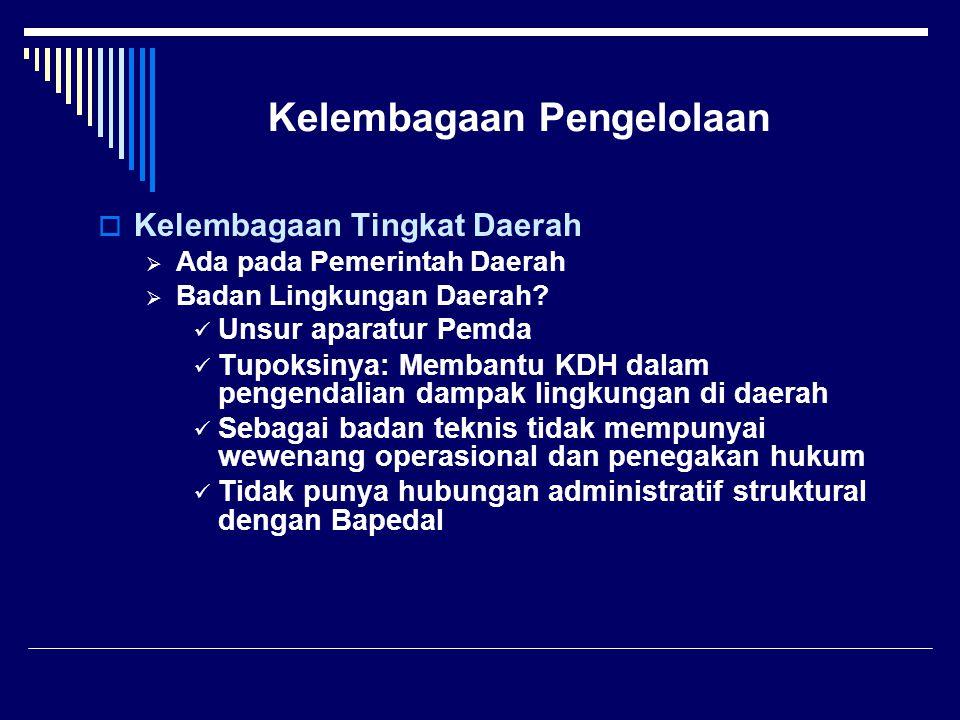 Kelembagaan Pengelolaan  Kelembagaan Tingkat Daerah  Ada pada Pemerintah Daerah  Badan Lingkungan Daerah.