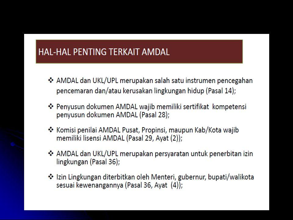 4. Kriteria Baku Kerusakan LH  Ukuran untuk menentukan kerusakan LH  Meliputi kriteria baku kerusakan ekosistem dan atau kriteria baku kerusakan aki