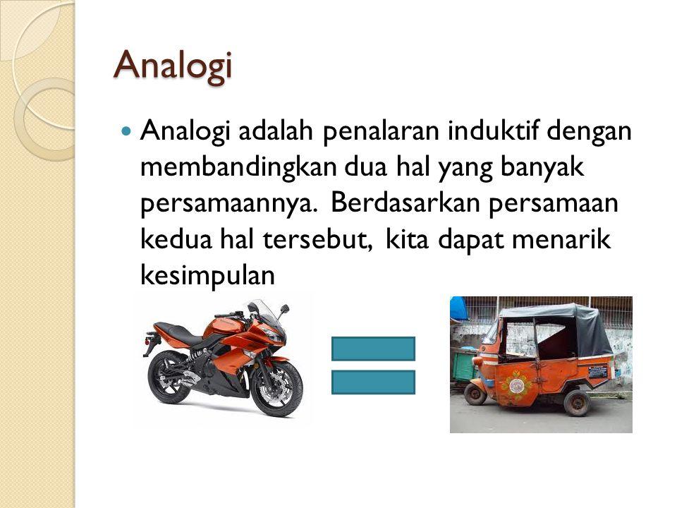 Analogi Analogi adalah penalaran induktif dengan membandingkan dua hal yang banyak persamaannya. Berdasarkan persamaan kedua hal tersebut, kita dapat