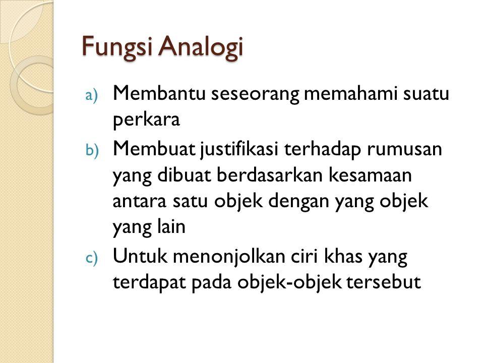 Fungsi Analogi a) Membantu seseorang memahami suatu perkara b) Membuat justifikasi terhadap rumusan yang dibuat berdasarkan kesamaan antara satu objek