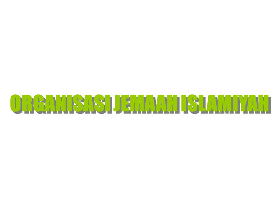Perubahan wujud dan nama dgn tujuan yg sama Darul Islam Ajengan Masduki Abdul Halim al Abdullah Sungkar (AS) Abdus Somad al Abu Bakar Baasyir (ABB) 1993, Perpecahan, beda Akidah Darul Islam Ajengan Masduki Jemaah Islamiyah Abdul Halim al Abdullah Sungkar (Alm) Abdus Somad al Abu Bakar Baasyir (ABB) Majelis Mujahidin Indonesia (MMI) Abu Bakar Baasyir Selaku Amir Jemaah Islamiah Indonesia, Singapura, Malaysia, Filipina Selatan, Thailand Selatan gerakan tertutup tertutupterbuka tertutup 7 Agustus 2000, Kongres MMI Tujuan: Pemberlakuan Syariah Islam di Indonesia NII S EJARAH S INGKAT O RGANISASI J EMAAH I SLAMIYAH
