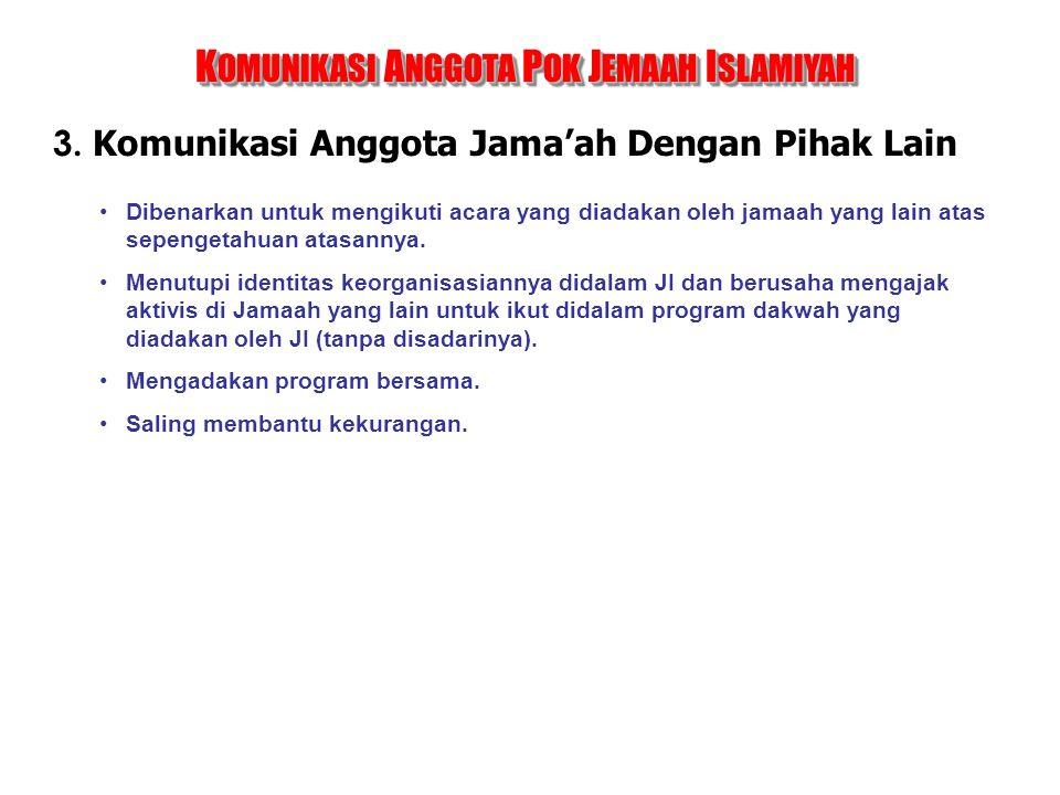 3. Komunikasi Anggota Jama'ah Dengan Pihak Lain K OMUNIKASI A NGGOTA P OK J EMAAH I SLAMIYAH Dibenarkan untuk mengikuti acara yang diadakan oleh jamaa