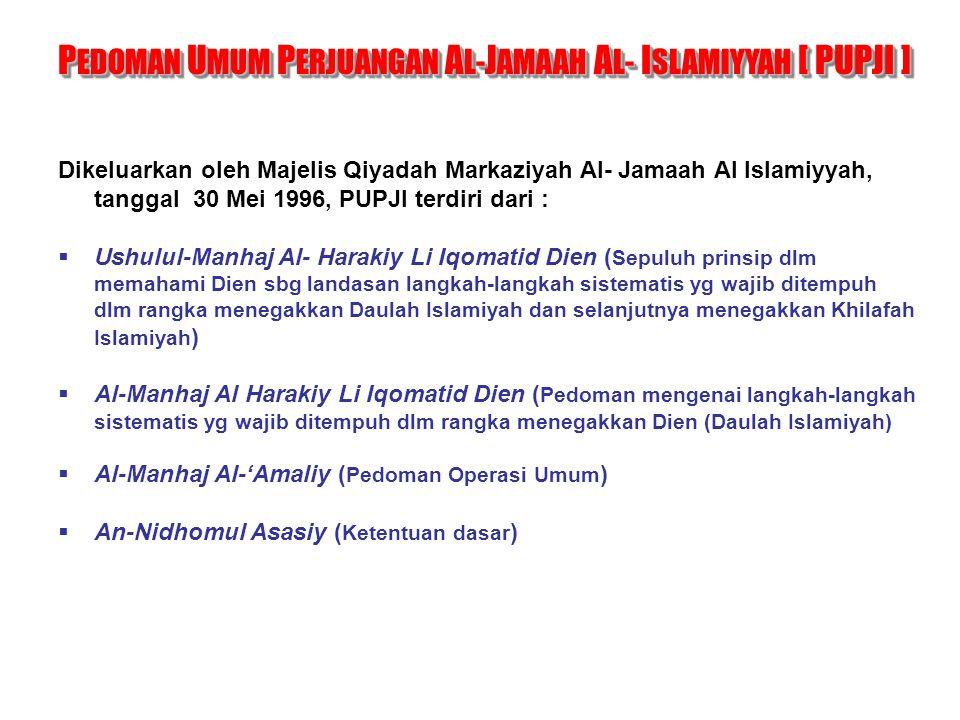 Dikeluarkan oleh Majelis Qiyadah Markaziyah Al- Jamaah Al Islamiyyah, tanggal 30 Mei 1996, PUPJI terdiri dari :  Ushulul-Manhaj Al- Harakiy Li Iqomat