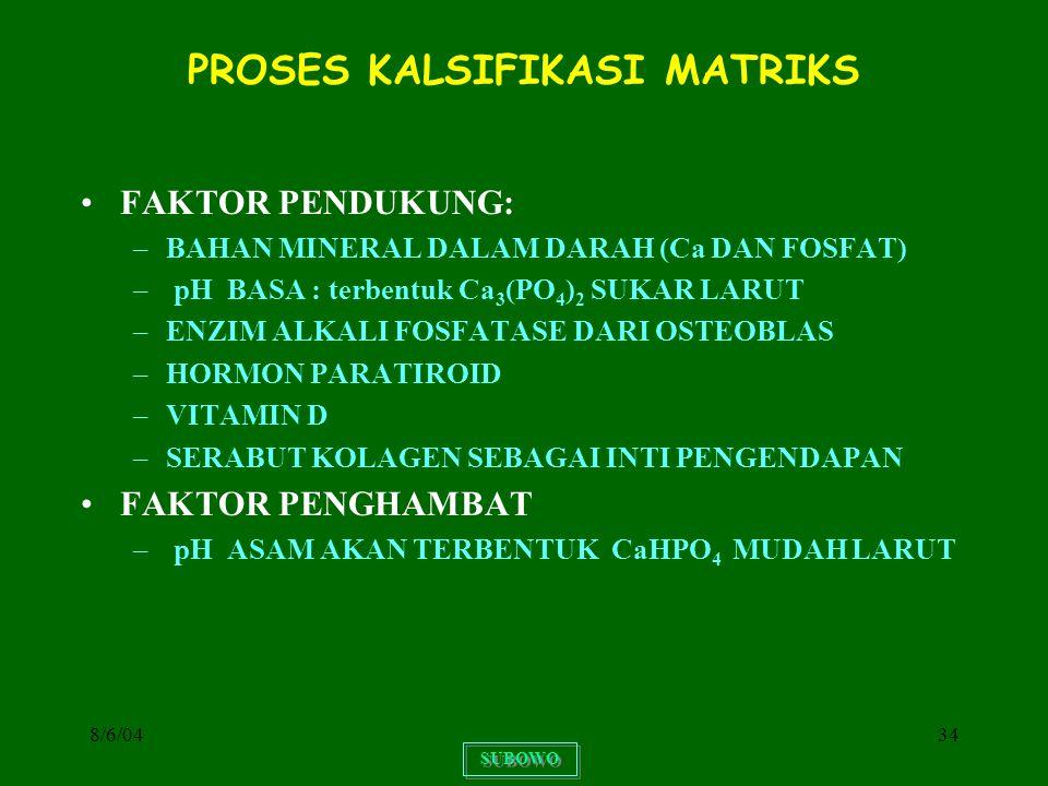 8/6/0434 PROSES KALSIFIKASI MATRIKS FAKTOR PENDUKUNG: –BAHAN MINERAL DALAM DARAH (Ca DAN FOSFAT) – pH BASA : terbentuk Ca 3 (PO 4 ) 2 SUKAR LARUT –ENZ