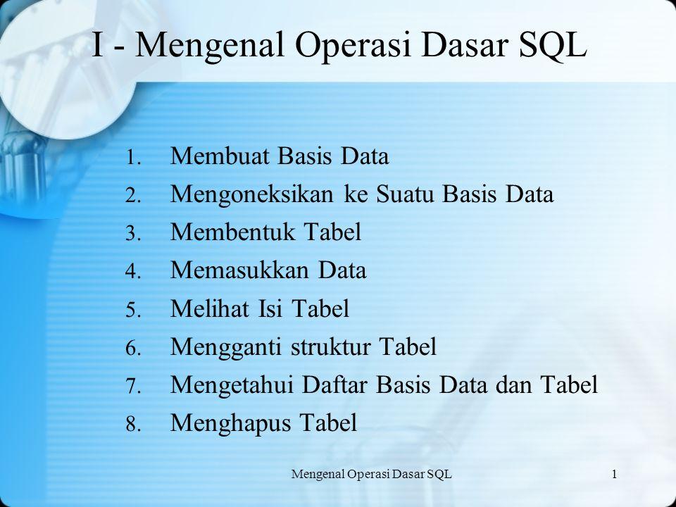 Mengenal Operasi Dasar SQL1 I - Mengenal Operasi Dasar SQL 1. Membuat Basis Data 2. Mengoneksikan ke Suatu Basis Data 3. Membentuk Tabel 4. Memasukkan