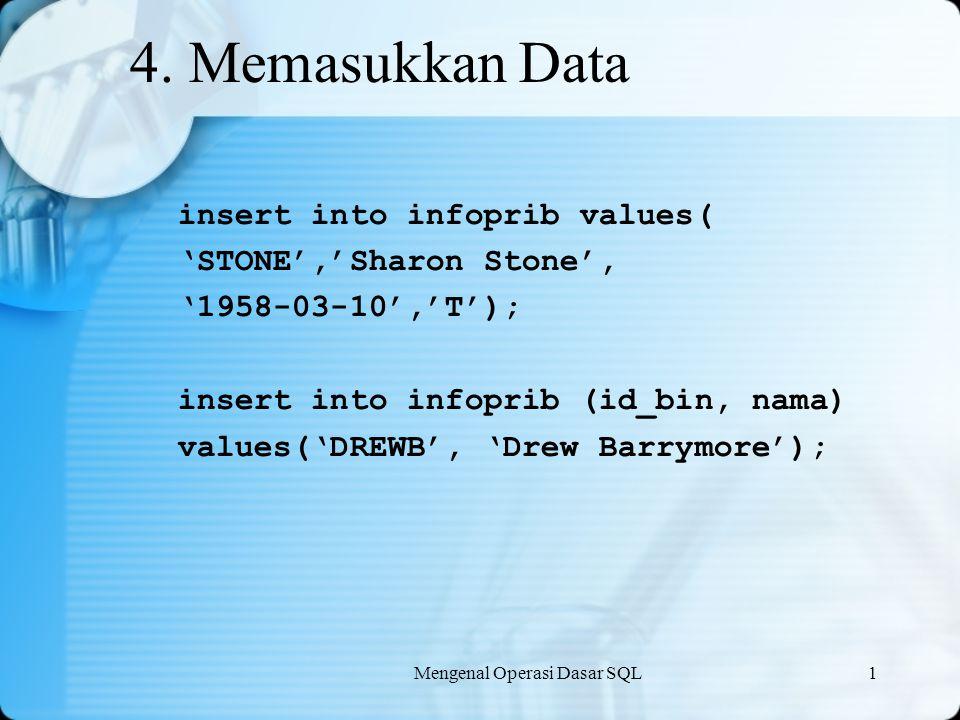 Mengenal Operasi Dasar SQL1 4. Memasukkan Data insert into infoprib values( 'STONE','Sharon Stone', '1958-03-10','T'); insert into infoprib (id_bin, n
