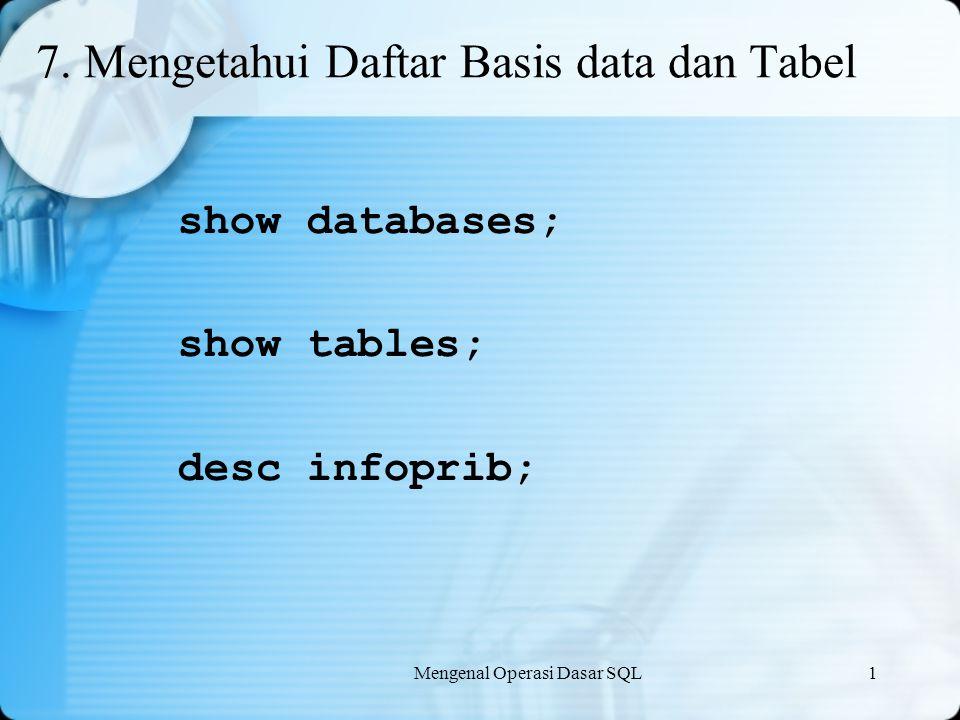 Mengenal Operasi Dasar SQL1 7. Mengetahui Daftar Basis data dan Tabel show databases; show tables; desc infoprib;