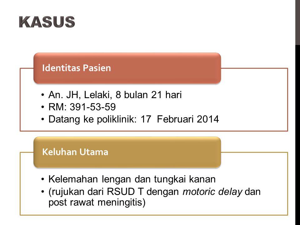 An. JH, Lelaki, 8 bulan 21 hari RM: 391-53-59 Datang ke poliklinik: 17 Februari 2014 Identitas Pasien Kelemahan lengan dan tungkai kanan (rujukan dari