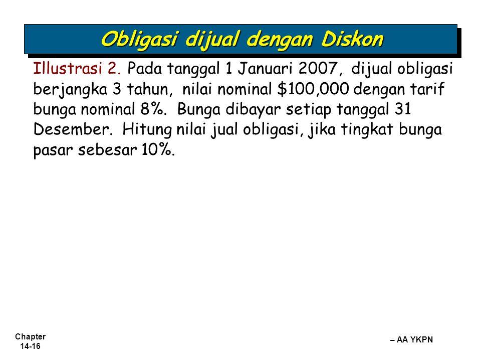 Chapter 14-16 – AA YKPN Obligasi dijual dengan Diskon Illustrasi 2. Pada tanggal 1 Januari 2007, dijual obligasi berjangka 3 tahun, nilai nominal $100