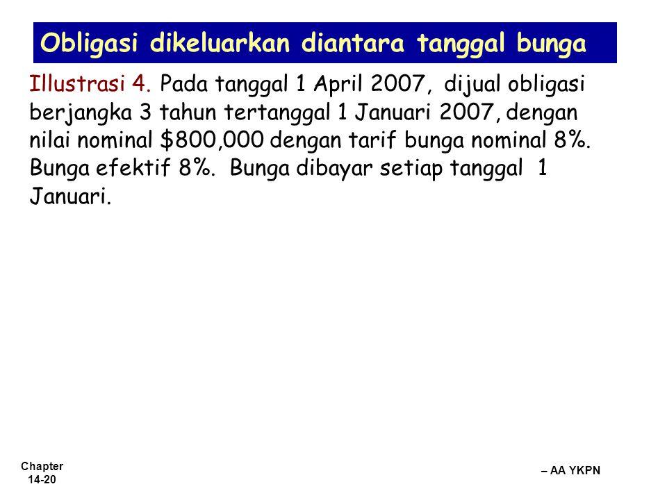Chapter 14-20 – AA YKPN Obligasi dikeluarkan diantara tanggal bunga Illustrasi 4. Pada tanggal 1 April 2007, dijual obligasi berjangka 3 tahun tertang