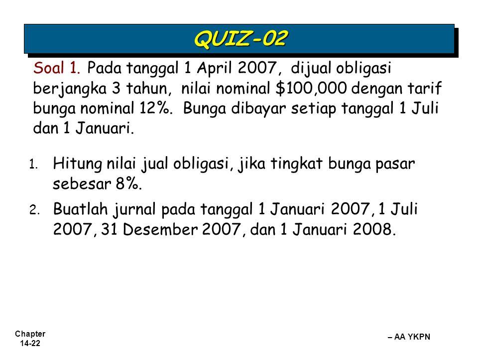 Chapter 14-22 – AA YKPN 1. 1. Hitung nilai jual obligasi, jika tingkat bunga pasar sebesar 8%. 2. 2. Buatlah jurnal pada tanggal 1 Januari 2007, 1 Jul