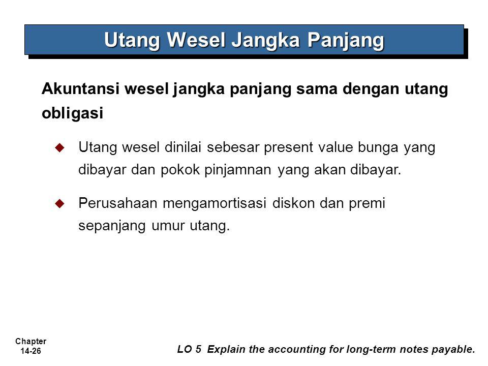 Chapter 14-26 – AA YKPN Utang Wesel Jangka Panjang Akuntansi wesel jangka panjang sama dengan utang obligasi   Utang wesel dinilai sebesar present v