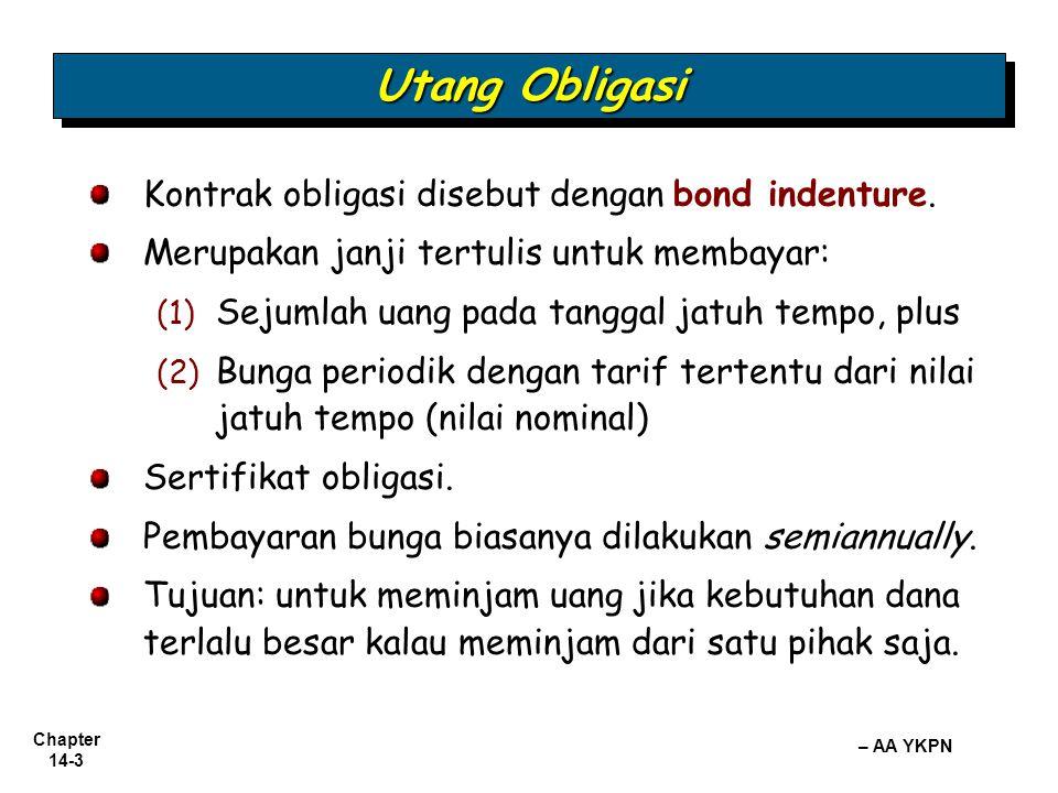 Chapter 14-3 – AA YKPN Utang Obligasi Kontrak obligasi disebut dengan bond indenture. Merupakan janji tertulis untuk membayar: (1) (1) Sejumlah uang p