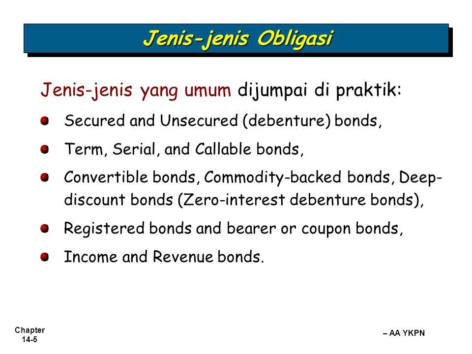 Chapter 14-5 – AA YKPN Jenis-jenis Obligasi Jenis-jenis yang umum dijumpai di praktik: Secured and Unsecured (debenture) bonds, Term, Serial, and Call