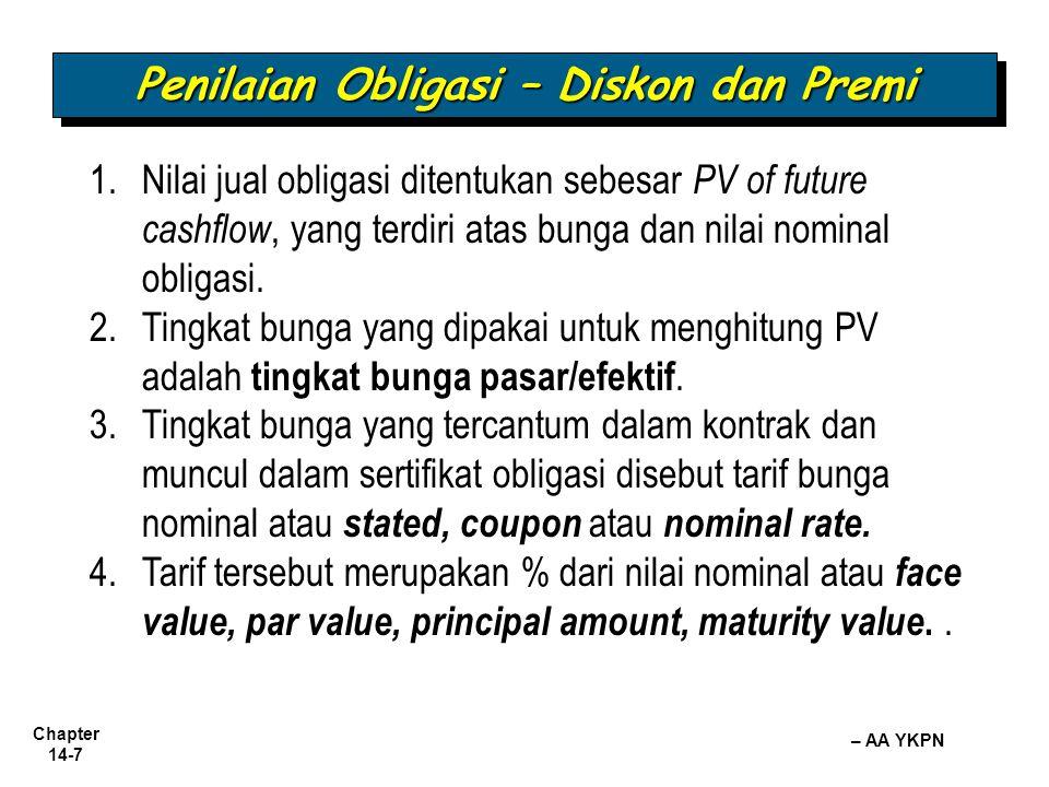Chapter 14-8 – AA YKPN Penilaian Obligasi – Diskon dan Premi 5.Bila tingkat bunga pasar berbeda dengan tingkat bunga yang ditetapkan, maka PV tsb akan beda dengan nilai nominal obligasi.