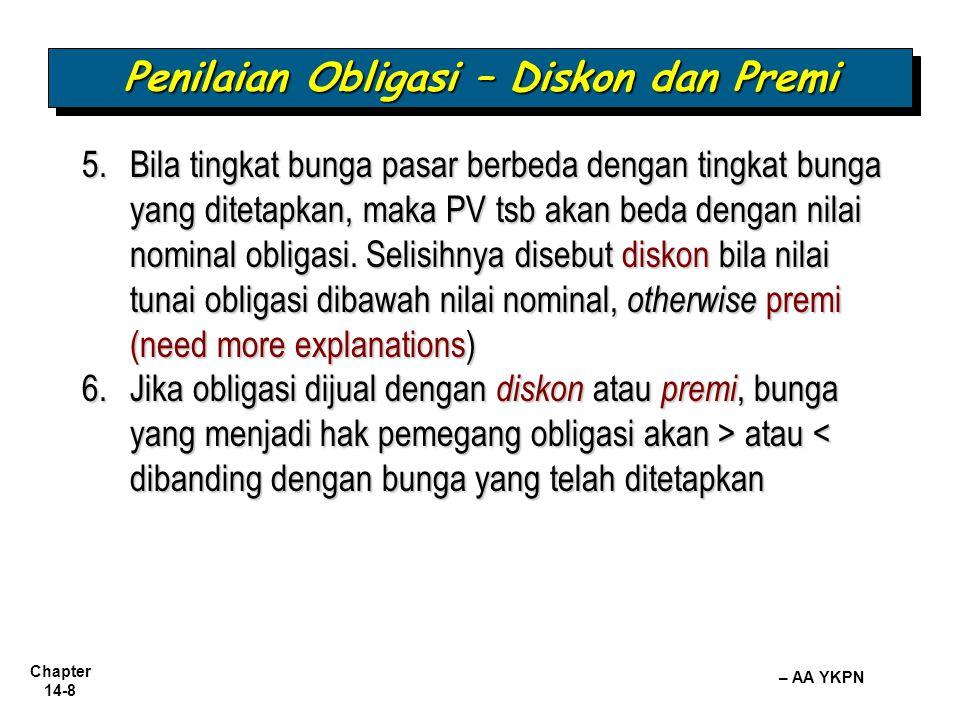 Chapter 14-8 – AA YKPN Penilaian Obligasi – Diskon dan Premi 5.Bila tingkat bunga pasar berbeda dengan tingkat bunga yang ditetapkan, maka PV tsb akan