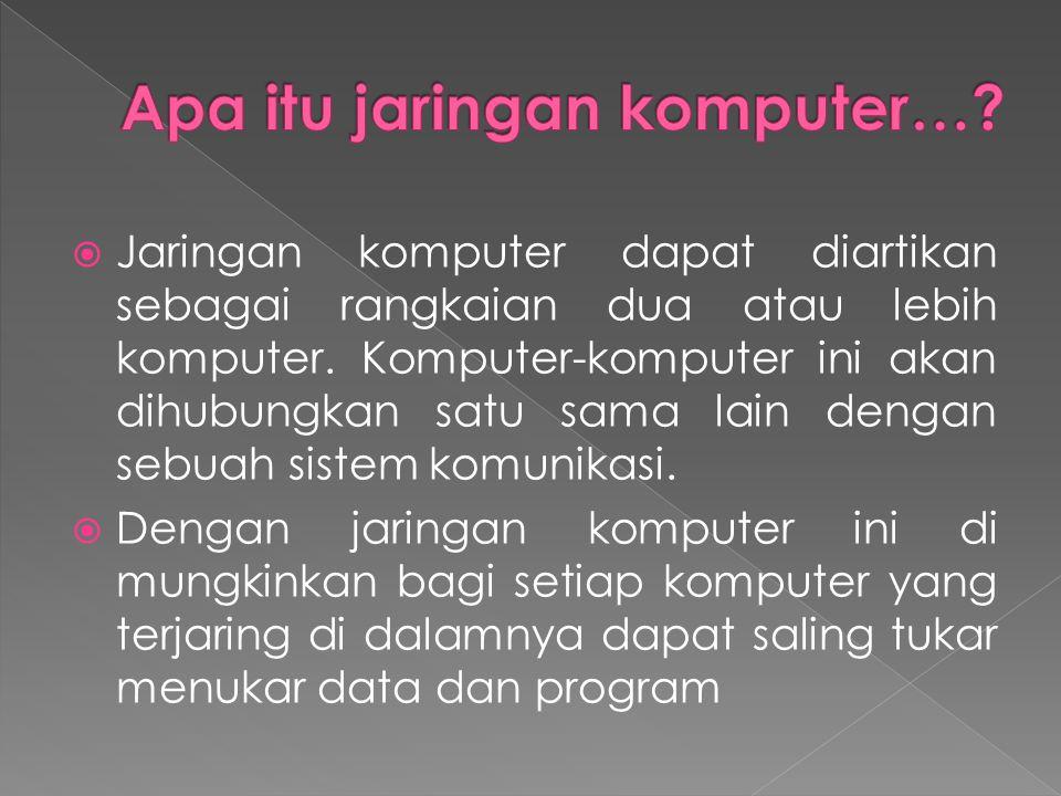  Jaringan komputer dapat diartikan sebagai rangkaian dua atau lebih komputer.