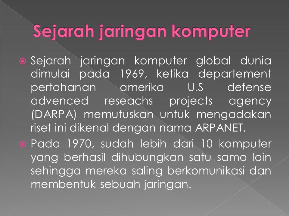  Sejarah jaringan komputer global dunia dimulai pada 1969, ketika departement pertahanan amerika U.S defense advenced reseachs projects agency (DARPA) memutuskan untuk mengadakan riset ini dikenal dengan nama ARPANET.