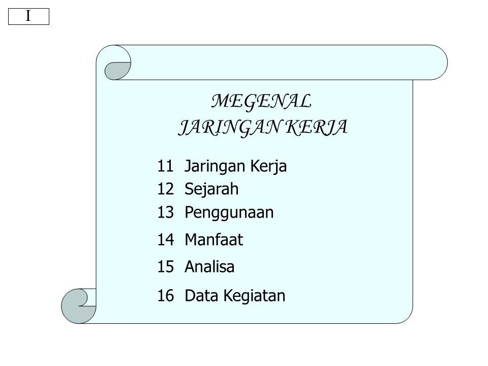 Jaringan Kerja Pengertian dasarnya merupakan hubungan keter- gantungan antara bagian-bagian pekerjaan (peubah) yang diilustrasikan atau divisualisa- sikan dalam suatu diagram yang disebut sebagai diagram jaringan kerja .